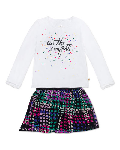 cue the confetti top w/ spot-print skirt, size 12-24 months