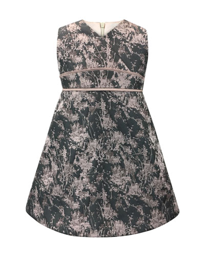 Floral Jacquard V-Neck Dress  Size 7-14