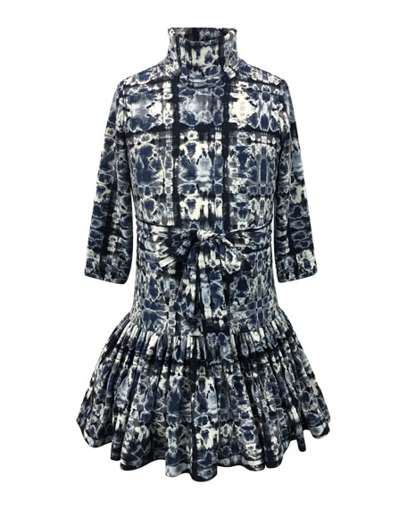 Helena Knit Turtleneck Dress w/ Pleated Drop Waist,
