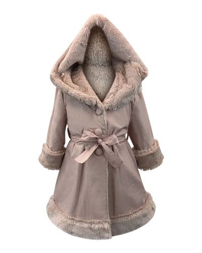 Hooded Faux Fur-Lined Reversible Coat, Size 7-14