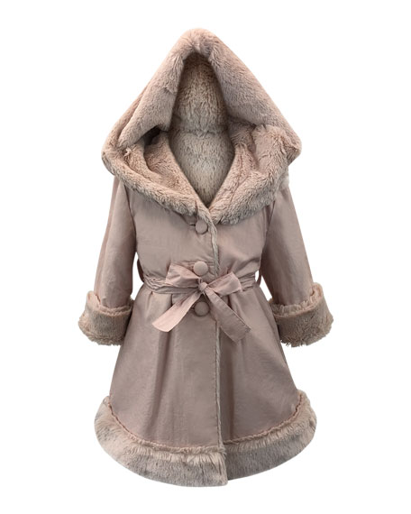Helena Hooded Faux Fur-Lined Reversible Coat, Size 7-14
