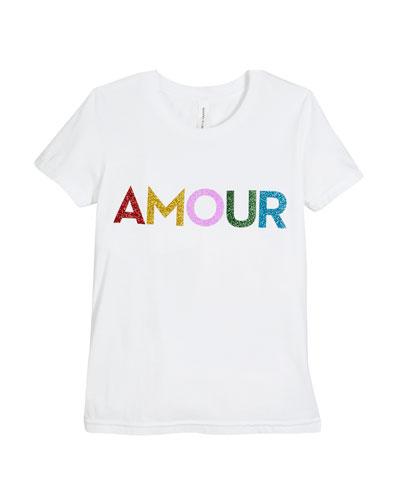 Rainbow Glitter Amour Tee, Size S-L