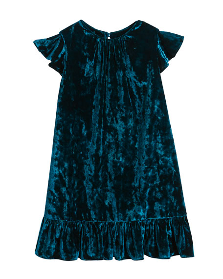 Milly Minis Ruffle-Trim Crushed Velvet Shift Dress, Size