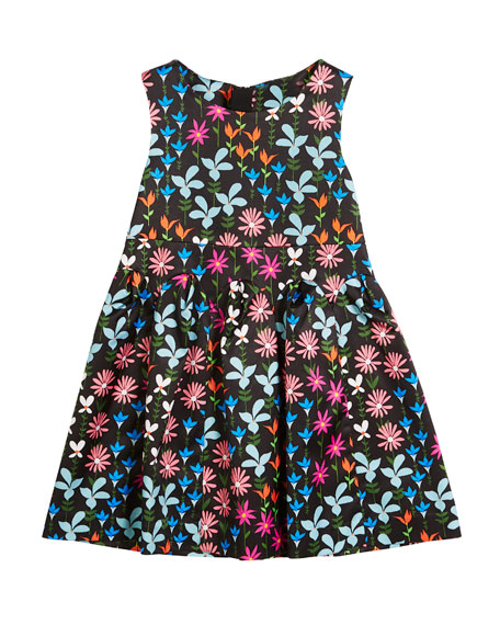 Milly Minis Natalia Jacquard Floral Sleeveless Dress, Size