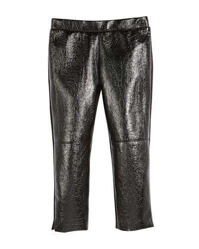 39e60d921991cd Faux-Leather Front Panel Leggings Size 4-7