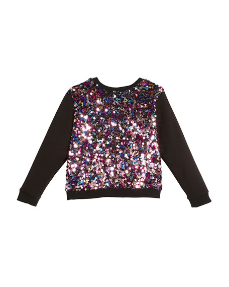 Milly Minis Sequin Combo Sweatshirt, Size 4-7 and