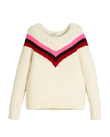 Milly Minis Chevron Stripe Merino Wool Sweater, Size