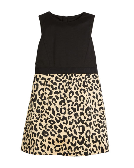 Milly Minis Panel Cheetah-Skirt Dress, Size 4-7