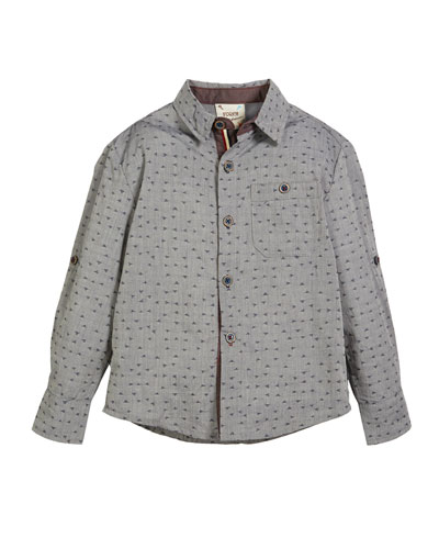 Confetti-Print Button-Down Shirt w/ Roll-Tab Sleeves, Size 2-8