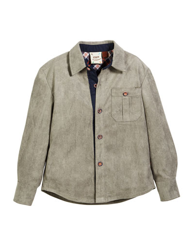 Faux-Suede Button-Down Shirt, Size 2-8