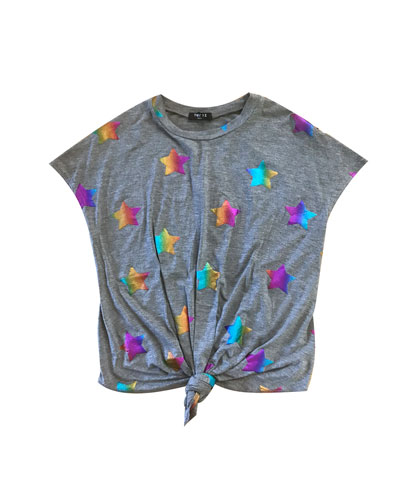 Rainbow Star Foil-Print Tie-Front Top, Size 7-16