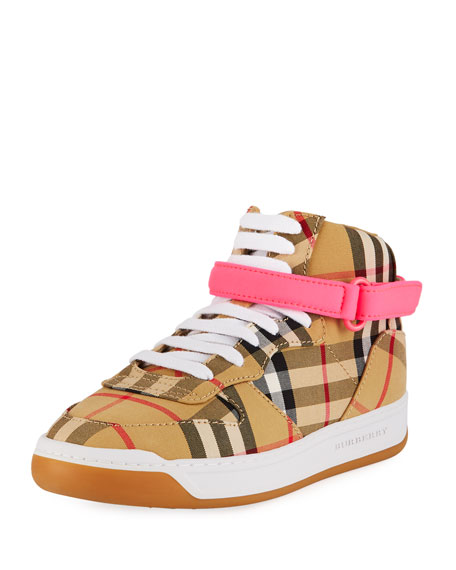 Burberry Groves High-Top Check Sneakers w/ Contrast Grip