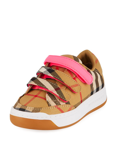 Burberry  GROVES LOW-TOP CHECK SNEAKERS W/ CONTRAST GRIP STRAP, TODDLER