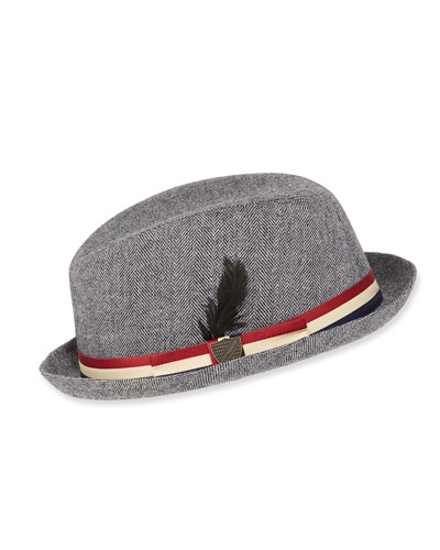 Boys' Herringbone Trilby Fedora Hat