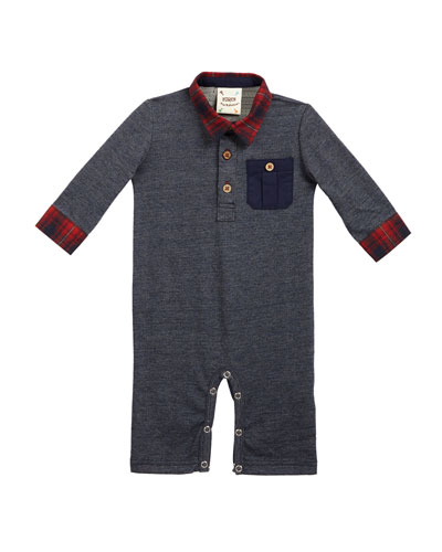 Polo Plaid-Trim Coverall, Size 3-18 Months
