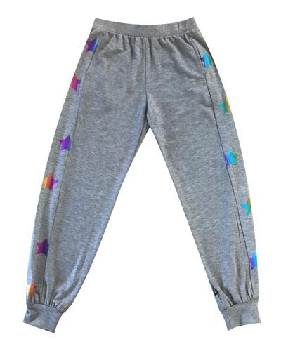 Rainbow Star Foil Jogger Pants, Size 7-16