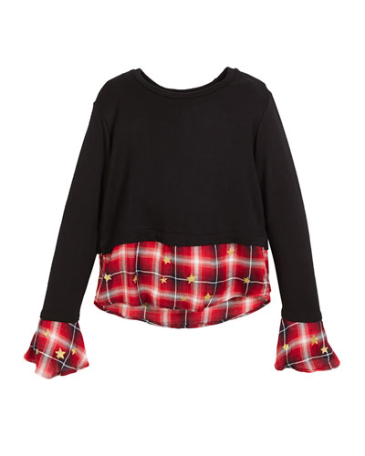 Drop-Shoulder Sweater w/ Peek Out Plaid Detail, Size S-XL