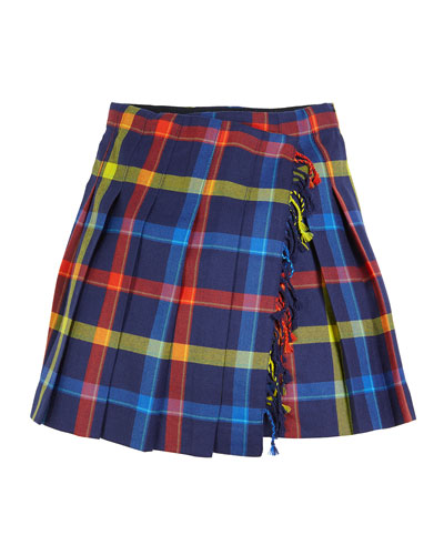 Klorriana Wool Pleated Plaid Skirt, Size 4-14