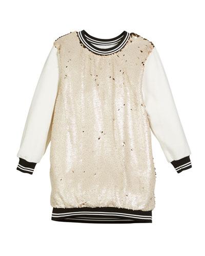 Sequin-Front Sweatshirt Dress, Size 4-6