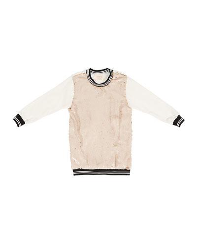 Sequin-Front Sweatshirt Dress, Size 7-14
