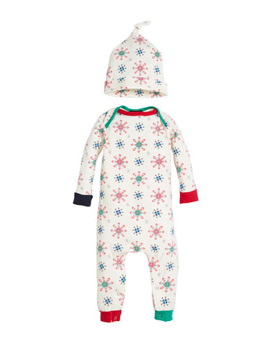 Holiday Snowflake Coverall w/ Matching Hat, Size 3-24 Months