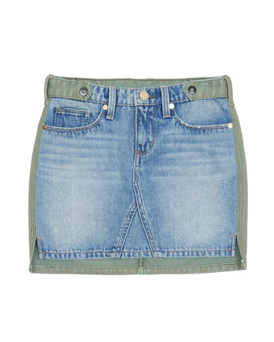 Cassia Denim-Front Mini Skirt, Size 7-14