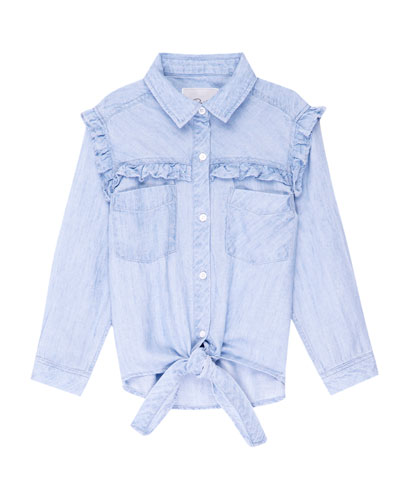 Sully Ruffle-Trim Chambray Tie-Front Top, Size 6-14