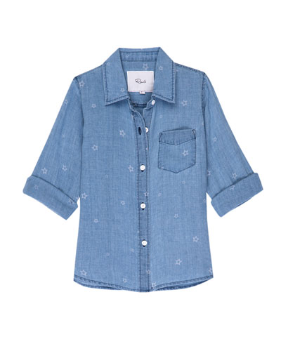 Cora Star-Print Chambray Button-Down Top, Size 6-14