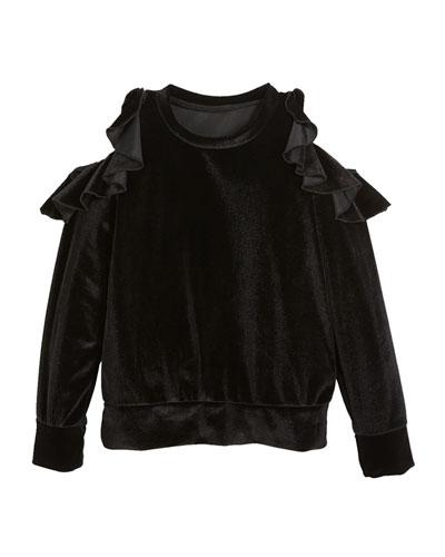 Velvet Cold-Shoulder Long-Sleeve Top, Size S-XL