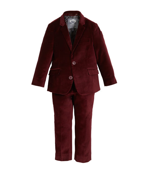 APPAMAN Boys' Two-Piece Mod Velvet Suit, 2-14 in Red