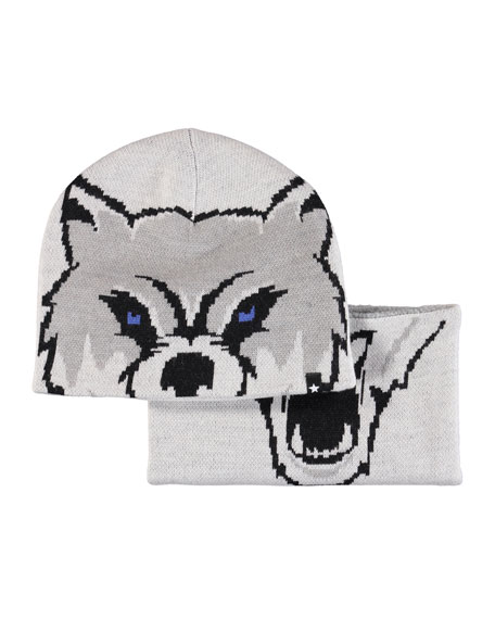 MOLO Kleo Wolf Intarsia Hat & Scarf Set in Gray