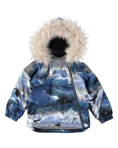 Hopla Arctic Landscape-Print Jacket, Size 12M-4