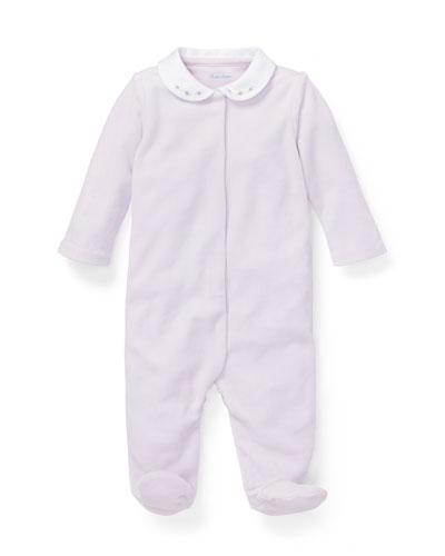 Peter Pan-Collar Footie Pajamas, Size 3-9 Months
