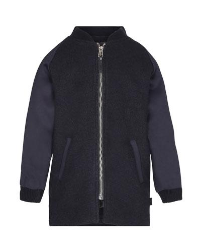 Haywood Wool-Blend Long Jacket, Size 4-12
