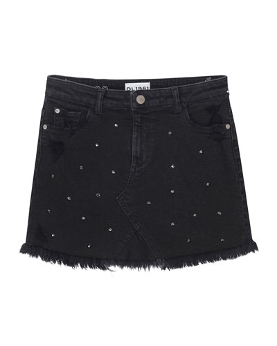Distressed Frayed-Hem Rhinestone Denim Skirt, Size 7-16