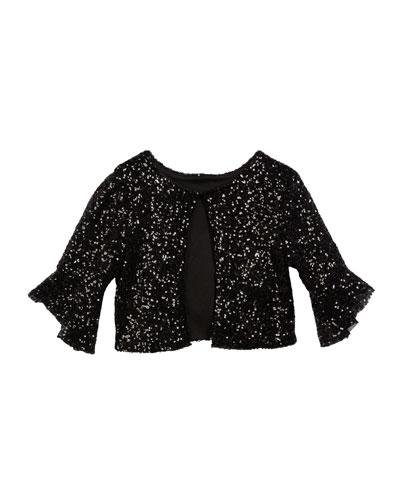 Sofi Bell-Sleeve Sequin Bolero Jacket, Size S-L