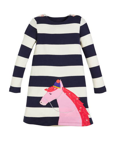 Kaye Striped Long-Sleeve Dress w/ Horse Applique, Size 2-6