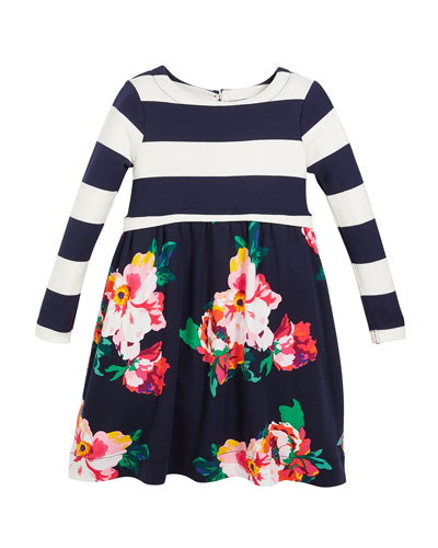 Striped & Lilac Floral Long-Sleeve Dress, Size 2-6