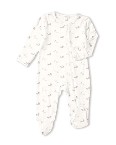 Fox-Print Zip-Front Footie Pajamas, Size 0-9 Months