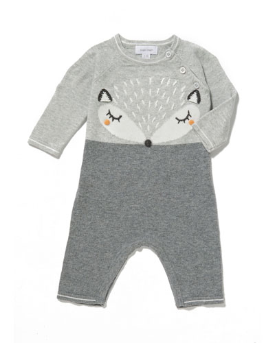 Knit Fox Intarsia Coverall, Size 0-12 Months