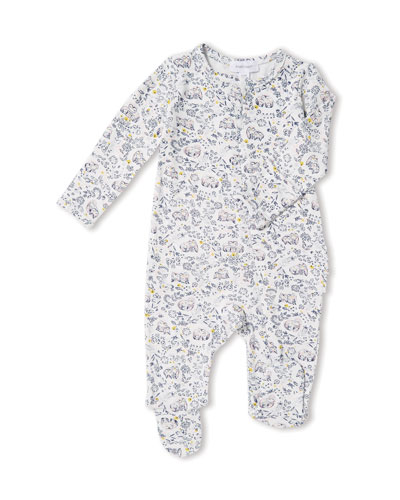 Forest Owl-Print Zip-Front Footie Pajamas, Size 0-9 Months