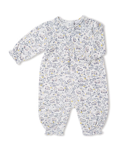Forest Owl-Print Smocked Coverall, Size 0-12 Months