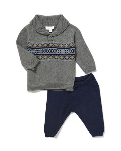 Shawl-Collar Sweater w/ Knit Pants, Size 3-24 Months