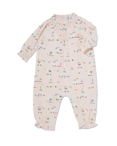 Llama-Print Smocked Coverall, Size 0-12 Months
