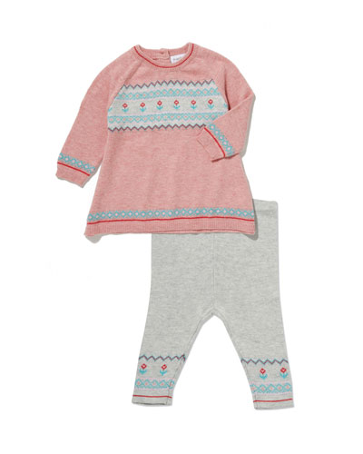 Fair Isle Knit Dress w/ Matching Leggings, Size 3-24 Months