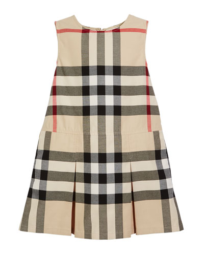 Dawny Sleeveless Pleated Check Dress, New Classic, Size 4-14