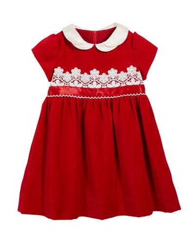 Velvet Lace-Trim Dress, Size 2-6X
