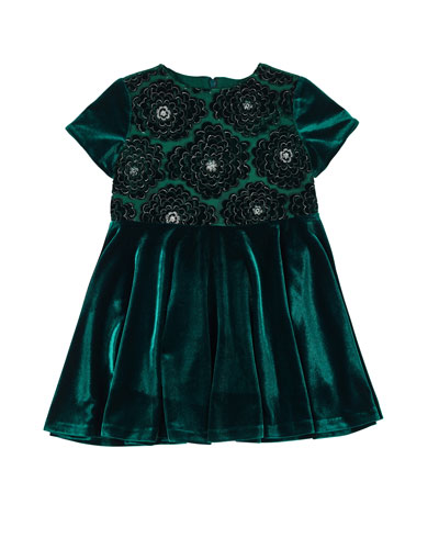 0a28c0ca16d1 Stretch Velvet Lace-Overlay Short-Sleeve Dress Size 4-6X