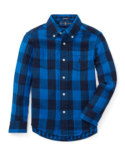 Twill Double-Face Reversible Shirt, Size 5-7