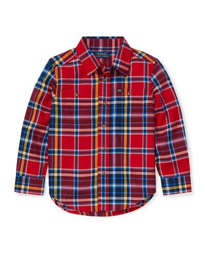 Twill Plaid Button-Down Shirt, Size 5-7